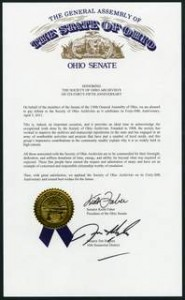 In honor of SOA's 45th Anniversary - Ohio Senate document