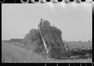 Loading hay from window with hayloader, central Ohio.2