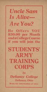 Defiance Students Army Training Corps Card