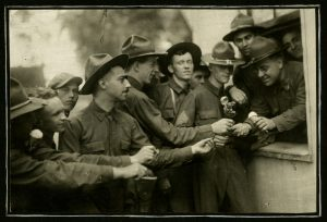 Ohio National Guard members being served ice cream