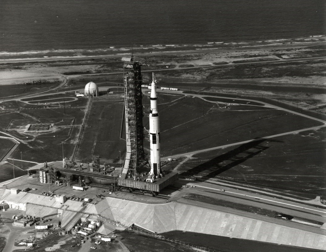Launch Complex 39A Shortly before Launch of Apollo 11 showing the Crawler Transporter