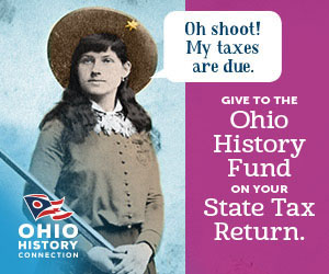 "Ohio History Fund promo ""Oh shoot! My taxes are due."" Features Annie Oakley."